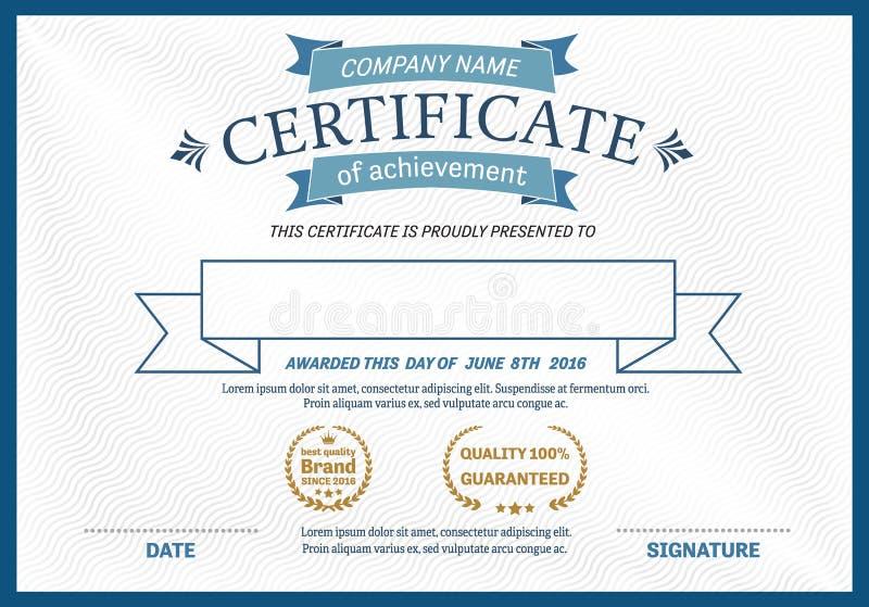 Ejemplo del vector de la plantilla del diploma del certificado ilustración del vector