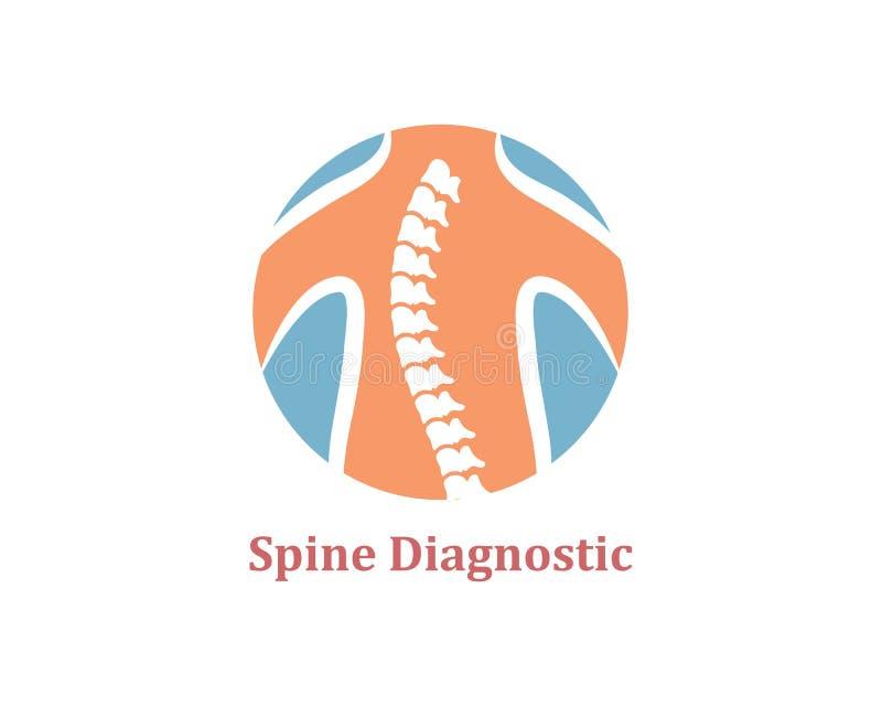 Ejemplo del vector de la plantilla del icono del logotipo de los diagnósticos de la espina dorsal ilustración del vector