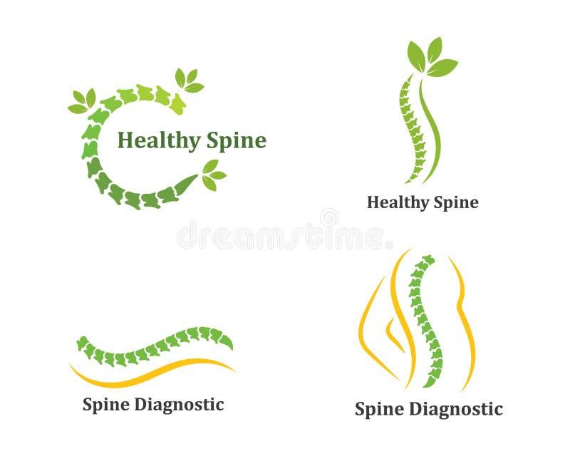 Ejemplo del vector de la plantilla del icono del logotipo de los diagnósticos de la espina dorsal libre illustration