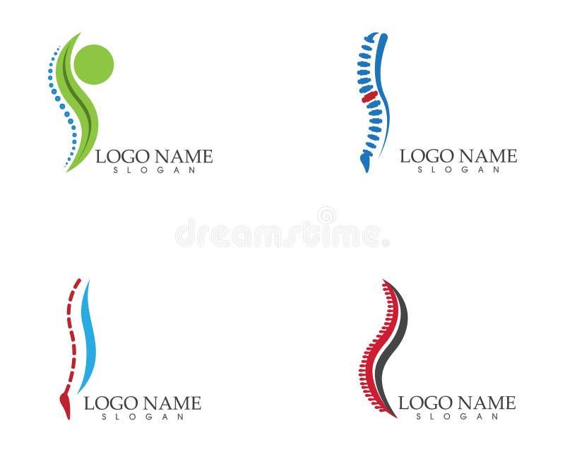 Ejemplo del vector de la plantilla del logotipo del símbolo de los diagnósticos de la espina dorsal stock de ilustración