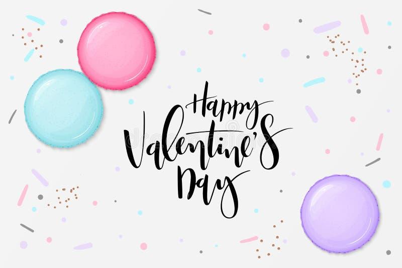 Ejemplo del vector de la plantilla de la tarjeta de felicitaciones del día de tarjeta del día de San Valentín con la etiqueta de  ilustración del vector