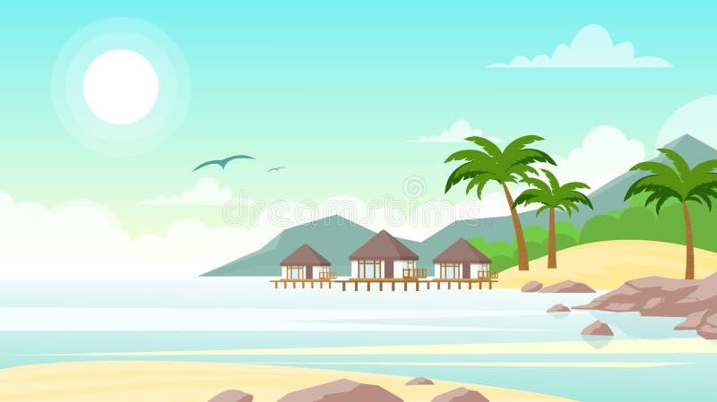 Ejemplo del vector de la playa del mar con el hotel Pequeños chalets hermosos en la playa del océano Paisaje del verano, vacacion ilustración del vector