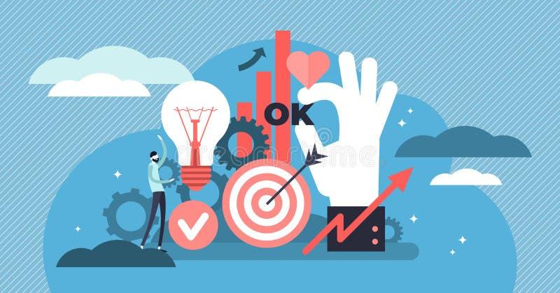 Ejemplo del vector de la productividad Concepto minúsculo plano de las personas de la eficacia del trabajo ilustración del vector
