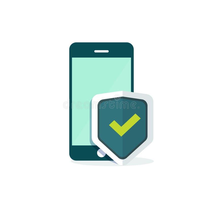 Ejemplo del vector de la protección del escudo de la seguridad del teléfono móvil ilustración del vector