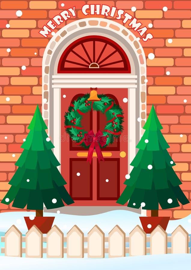 Ejemplo del vector de la puerta con la guirnalda Tarjeta de felicitación de la Feliz Navidad ilustración del vector