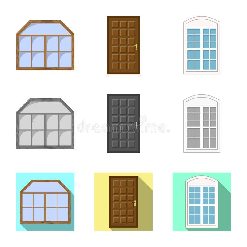 Ejemplo del vector de la puerta y del icono delantero Colección de puerta y de ejemplo común de madera del vector libre illustration