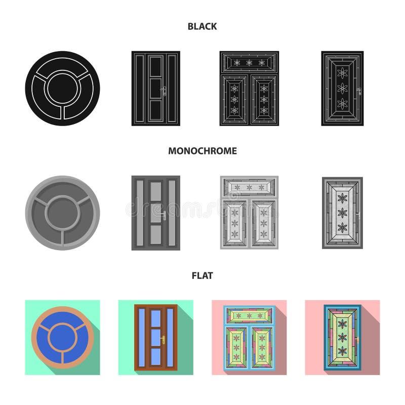 Ejemplo del vector de la puerta y del logotipo delantero Colección de puerta y de ejemplo común de madera del vector stock de ilustración