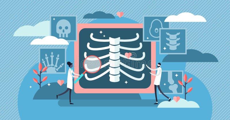 Ejemplo del vector de la radiología Concepto esquelético de la persona de los huesos de la radiografía minúscula plana ilustración del vector