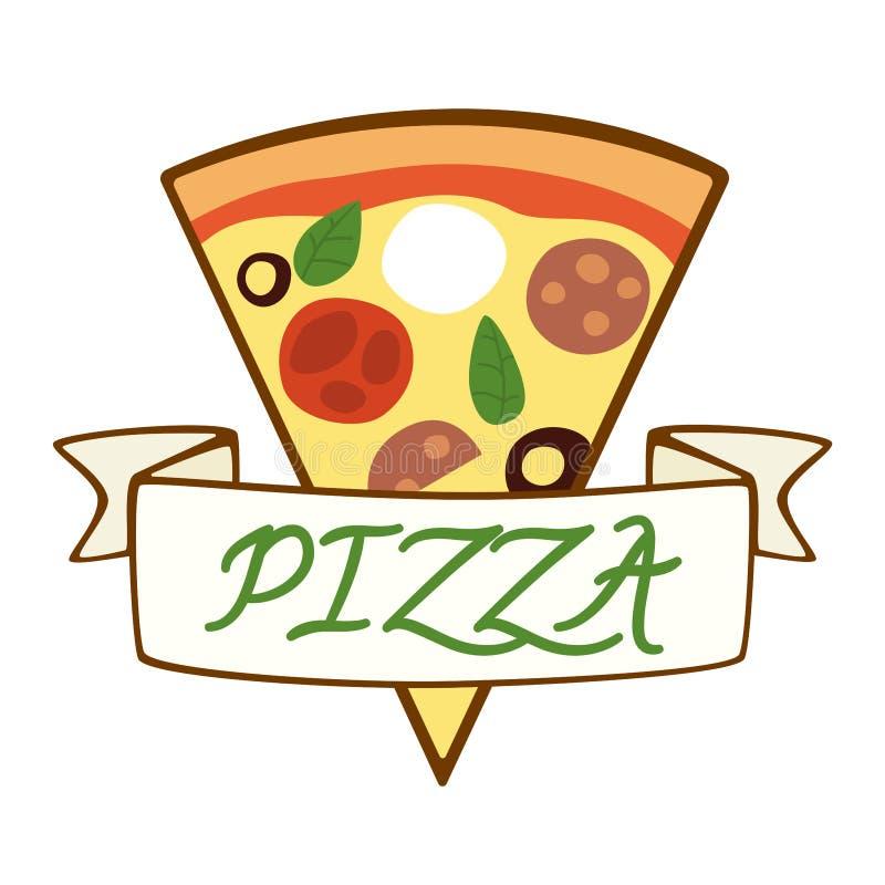Ejemplo del vector de la rebanada de la pizza Plantilla del vector del logotipo de la pizza Diseño para el menú y la etiqueta ilustración del vector