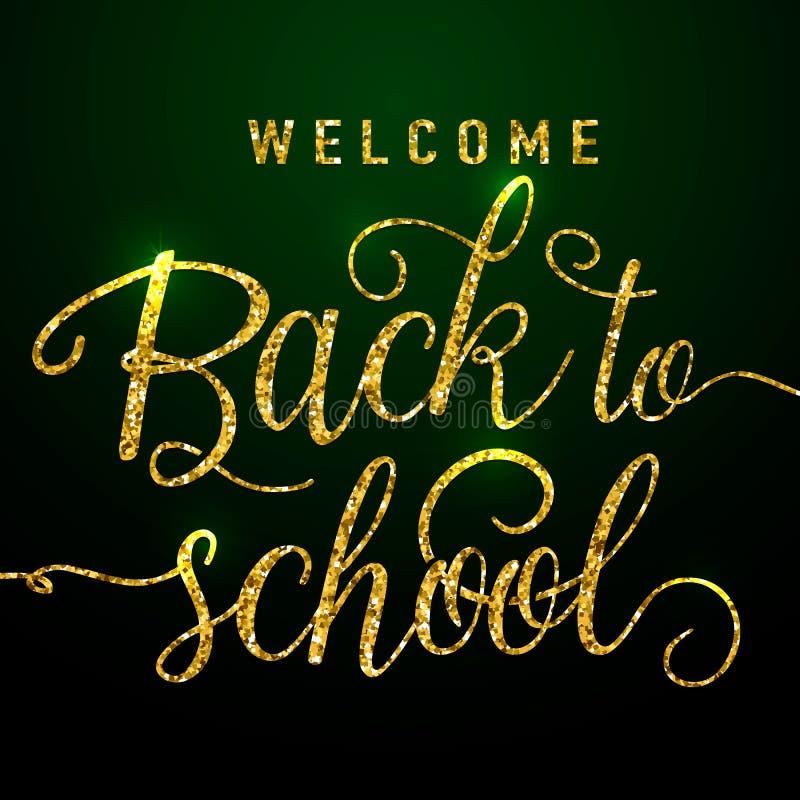Ejemplo del vector de la recepción de nuevo a tarjeta de felicitación de la escuela con el elemento de las letras del brillo del  ilustración del vector