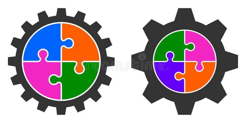 Ejemplo del vector de la rueda de engranaje colorida del rompecabezas ilustración del vector