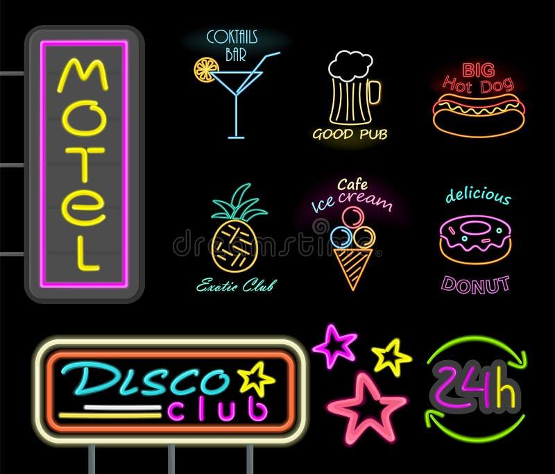 Ejemplo del vector de la señal de neón del club del motel y del disco ilustración del vector