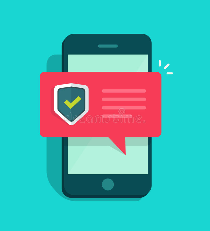 Ejemplo del vector de la seguridad de Smartphone, teléfono móvil del estilo plano con la marca de cotejo protegida del escudo libre illustration