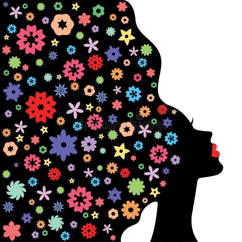 Ejemplo del vector de la silueta abstracta de la cara de la chica joven ilustración del vector