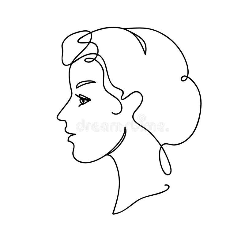 Ejemplo del vector de la silueta de la cara Muchacha atractiva joven Dibujo continuo Línea Art Concept Design ilustración del vector
