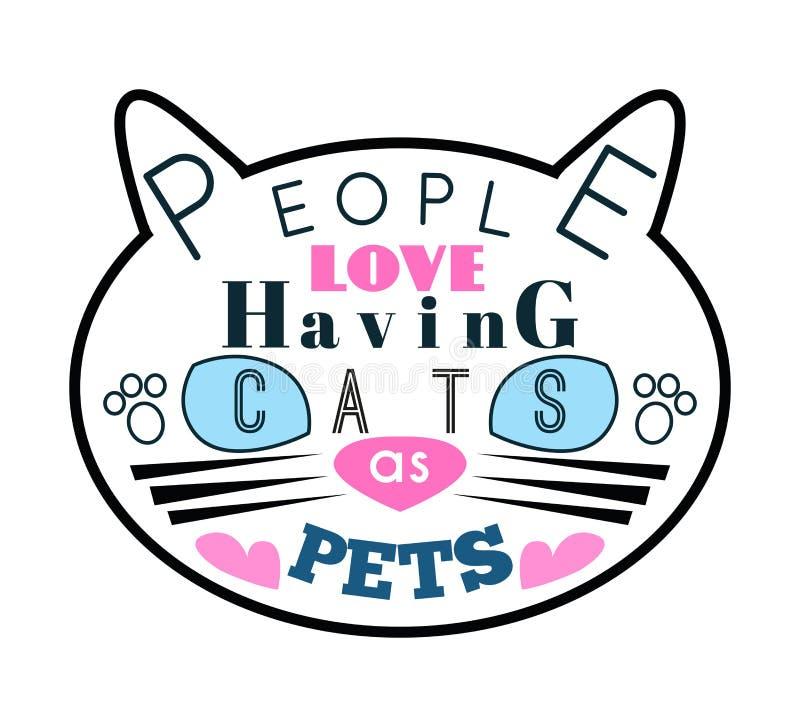 Ejemplo del vector de la silueta del gato con el azul libre illustration