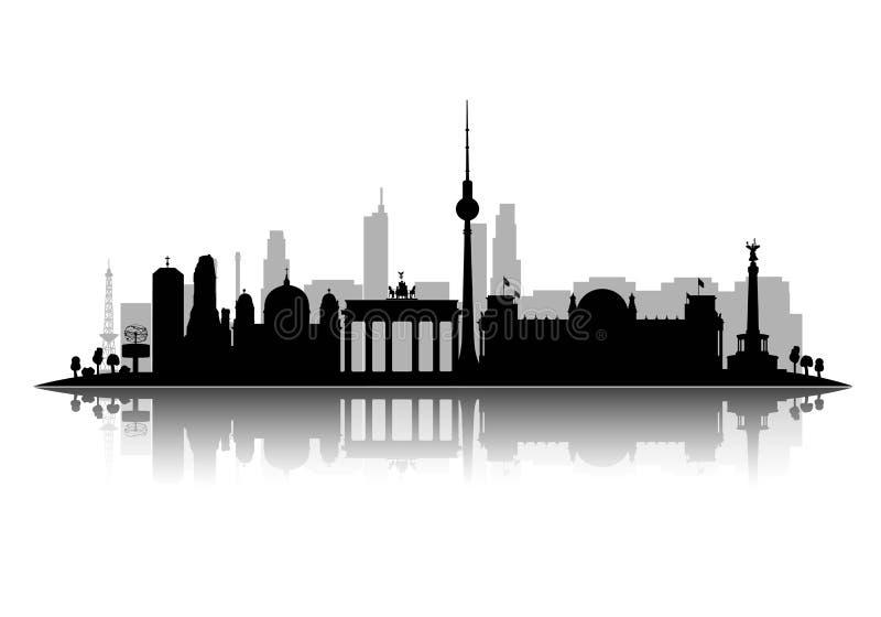 Ejemplo del vector de la silueta de Leipzig aislado en el fondo blanco con vector de la sombra 3d stock de ilustración