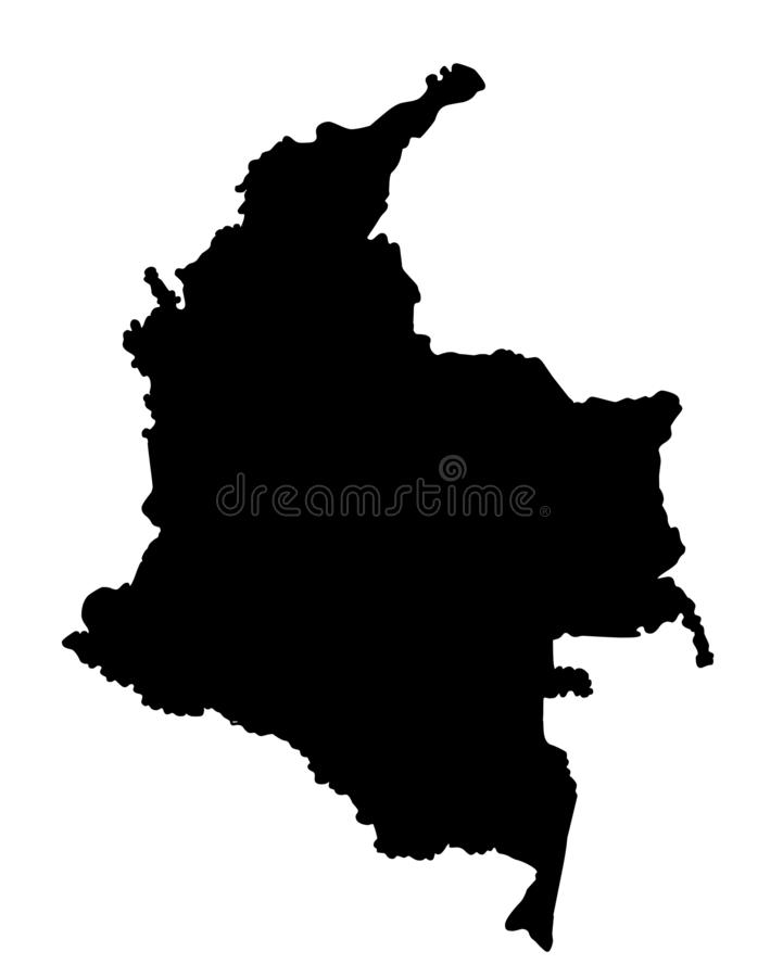 Ejemplo del vector de la silueta del mapa de Colombia stock de ilustración