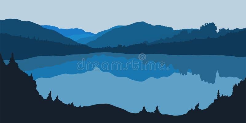 Ejemplo del vector de la silueta del panorama del bosque con el lago libre illustration