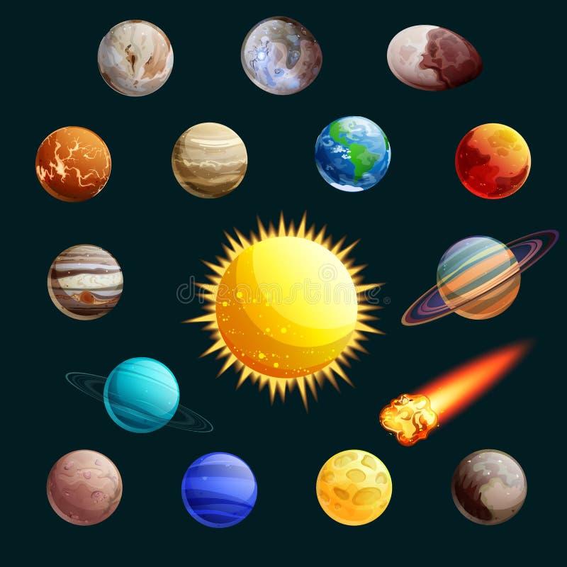 Ejemplo del vector de la Sistema Solar Sun, planetas, iconos del espacio de la historieta de los satélites y elementos del diseño ilustración del vector