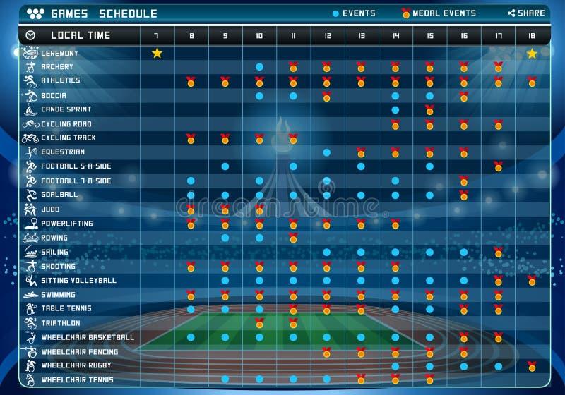 Ejemplo del vector de la tabla de 2016 horario ilustración del vector