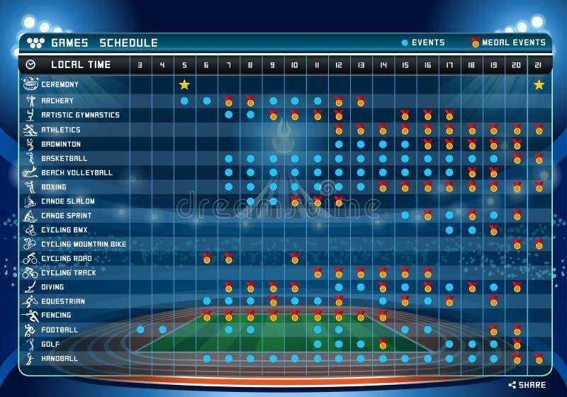 Ejemplo del vector de la tabla 1of2 del horario libre illustration