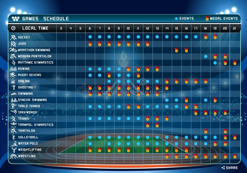 Ejemplo del vector de la tabla 2of2 del horario de los juegos del verano libre illustration