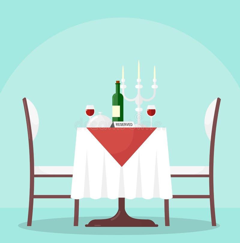 Ejemplo del vector de la tabla en restaurante con la botella y las copas de vino Tabla reservada en café moderno, con stock de ilustración