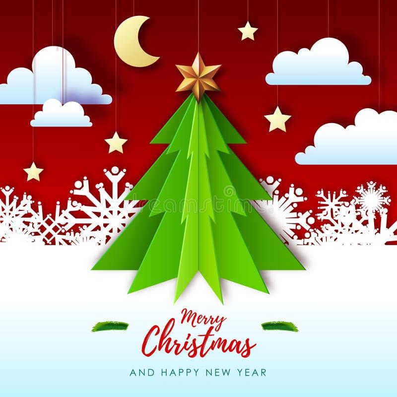 Ejemplo del vector de la tarjeta de felicitaci?n de la Feliz Navidad con el ?rbol de navidad Papiroflexia Dise?o cortado del esti libre illustration