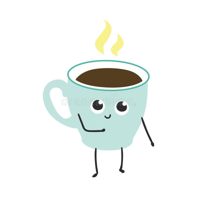 Ejemplo del vector de la taza del café o de té con el personaje de dibujos animados del vapor ilustración del vector