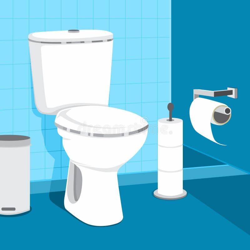 Ejemplo del vector de la taza del inodoro Papel higiénico y bote de basura ilustración del vector