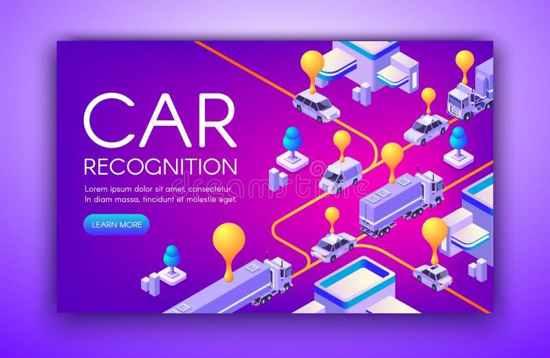Ejemplo del vector de la tecnología del reconocimiento del coche stock de ilustración