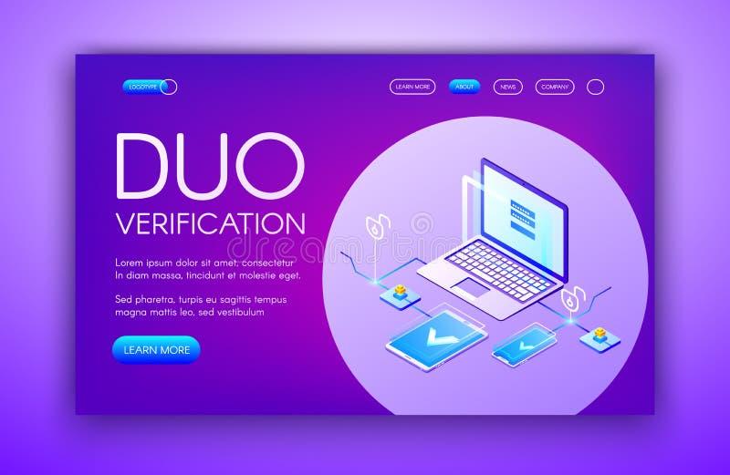 Ejemplo del vector de la tecnología de la verificación del dúo ilustración del vector