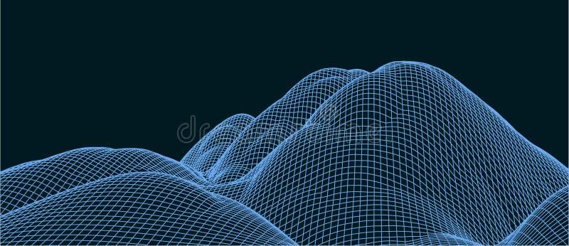 ejemplo del vector de la tecnolog?a 3d Abstracci?n Dise?o del paisaje de monta?as imágenes de archivo libres de regalías