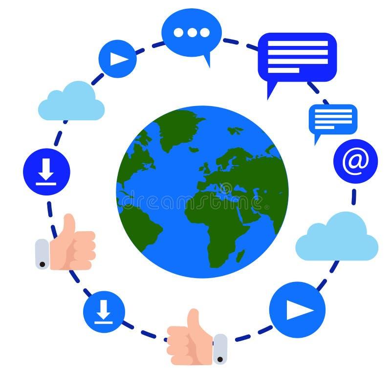 Ejemplo del vector de la tierra del planeta rodeado por los iconos de la conexión a internet stock de ilustración