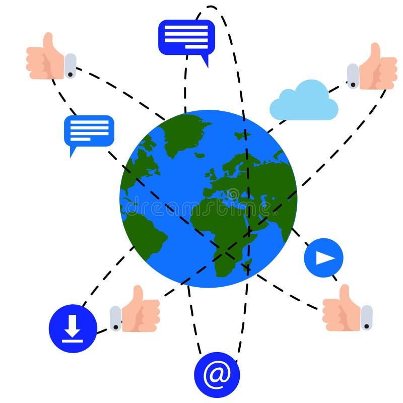 Ejemplo del vector de la tierra del planeta rodeado por los iconos de la conexión a internet ilustración del vector