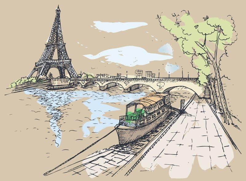 Ejemplo del vector de la torre Eiffel en estilo de la acuarela libre illustration