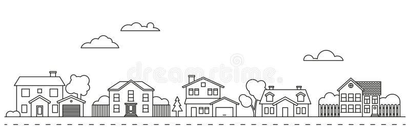 Ejemplo del vector de la vecindad del pueblo stock de ilustración