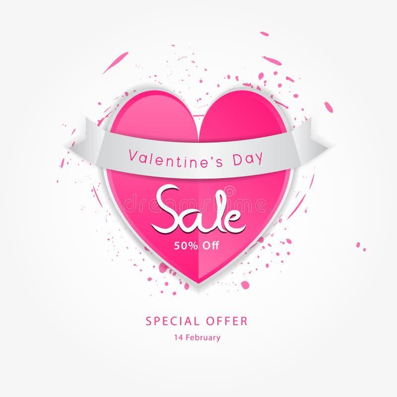 Ejemplo del vector de la venta del día del ` s de la tarjeta del día de San Valentín, plantilla de la venta del día del ` s de la ilustración del vector