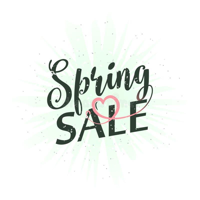 Ejemplo del vector de la venta de la primavera de la inscripción de la caligrafía libre illustration