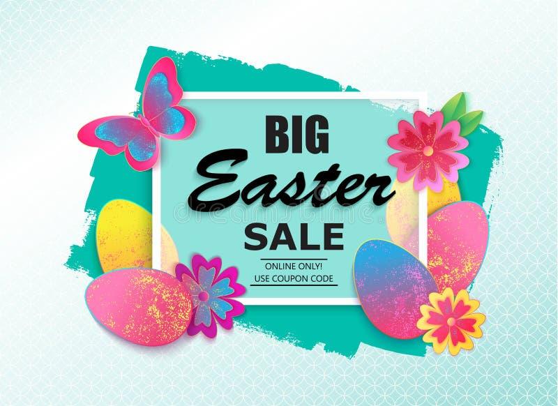 Ejemplo del vector de la venta de Pascua con la flor, la mariposa y el huevo ilustración del vector