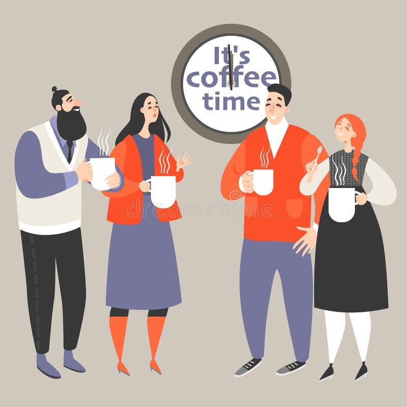 Ejemplo del vector de la vida de la oficina con café de consumición de la gente ilustración del vector