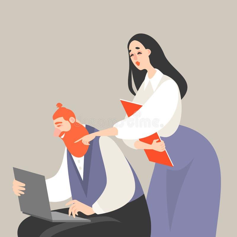 Ejemplo del vector de la vida de la oficina con un hombre y una mujer que miran la pantalla del ordenador portátil stock de ilustración