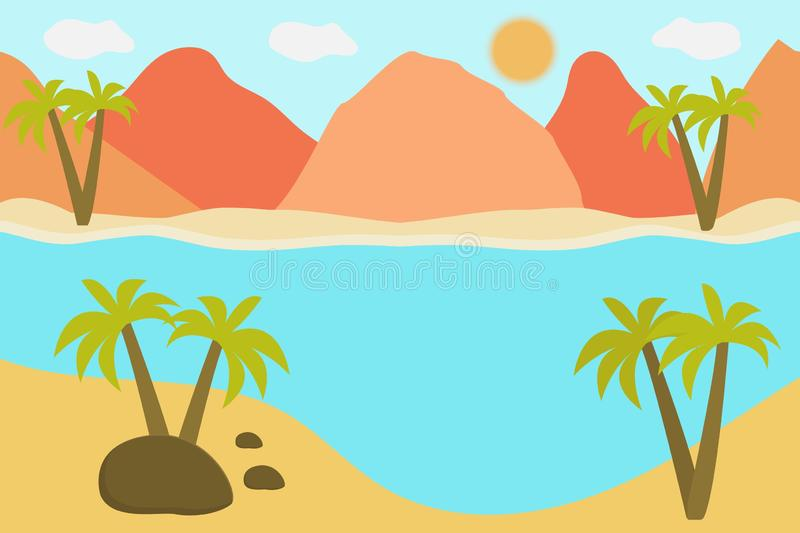 Ejemplo del vector de la visi?n panor?mica hermosa Las montañas en verano con ven u océano, montaña de la mañana, paisaje ilustración del vector