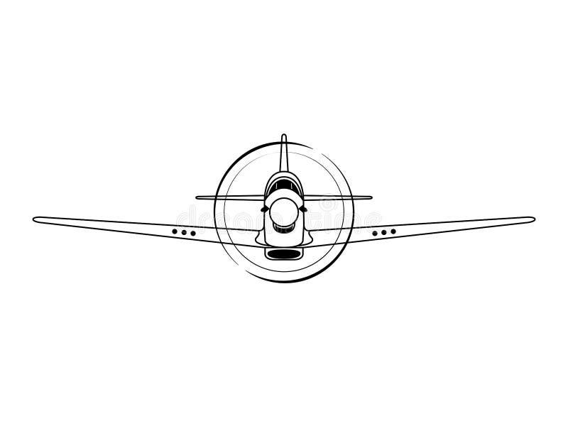 Ejemplo del vector de la vista delantera del aeroplano del combatiente ilustración del vector