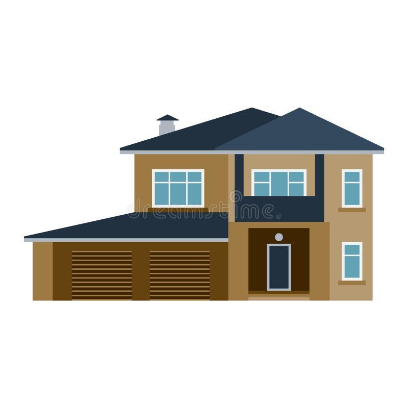 Ejemplo del vector de la vista delantera de la casa ilustración del vector