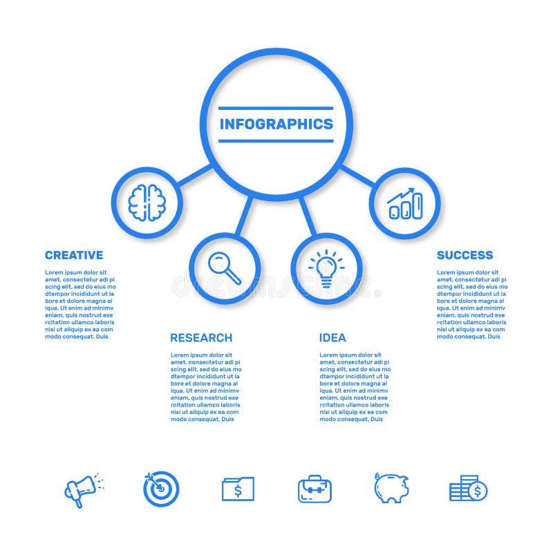 Ejemplo del vector de la visualización de los datos de negocio Carta de proceso stock de ilustración