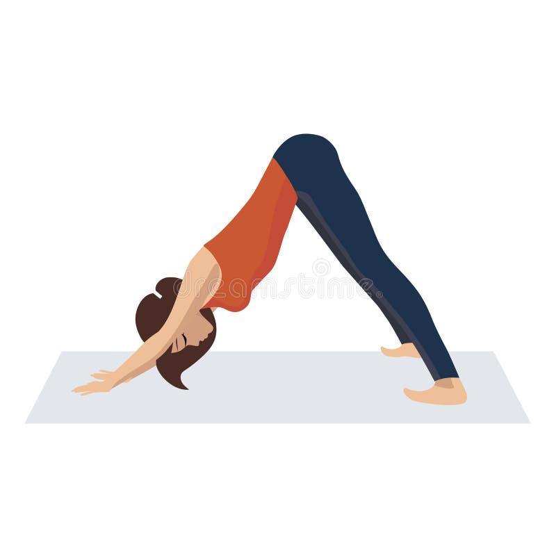 Ejemplo del vector de la yoga practicante femenina joven delgada hermosa juguetona, meditando en bozal del perro de la actitud ab imágenes de archivo libres de regalías