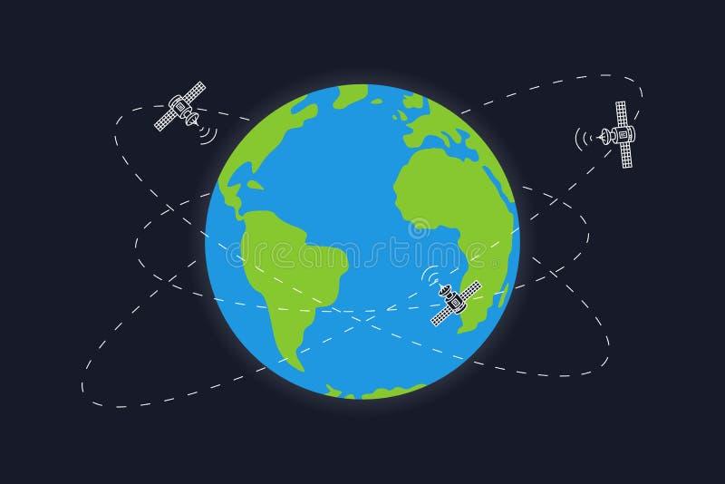 Ejemplo del vector de las órbitas de la tierra y del satélite del planeta ilustración del vector