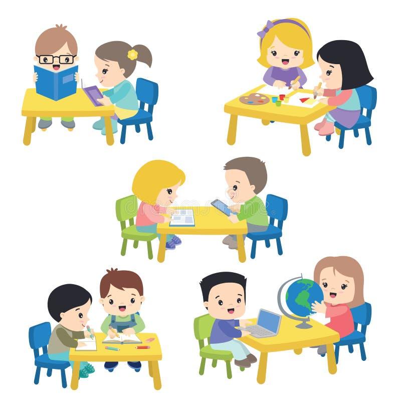 Ejemplo del vector de las actividades de los alumnos aislado en blanco ilustración del vector